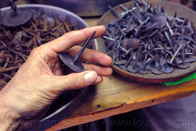 nails made by blacksmith, blacksmith, forged, hand, ironwork, metal working, metalwork, nails
