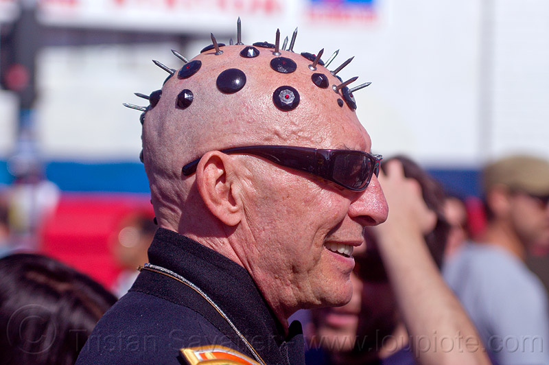 nails on head, bald, bald head, bindis, folsom street fair, juan, man, people, shaved head, shaven head, spikes, spiky