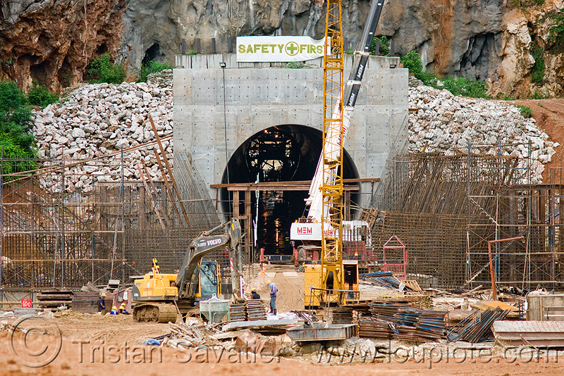 nam theun 2 hydroelectric project (laos) - adit - downstream canal tunnel exit, adit, construction, crane, excavator, hydro-electric, laos, mem, nam theun 2 hydroelectric project, nam theun power company, ntpc, safety first, tunnel, tunneling equipment, tunneling machine