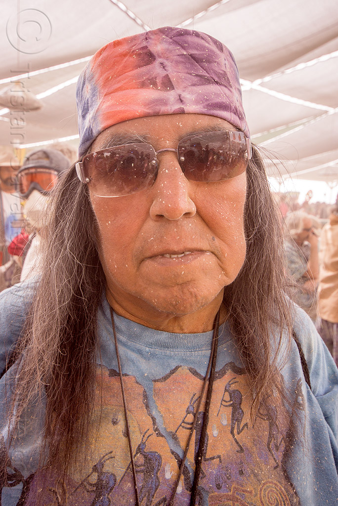 native american man at center camp - burning man 2015, burning man, center camp, dusty, indigenous, native american, sunglasses