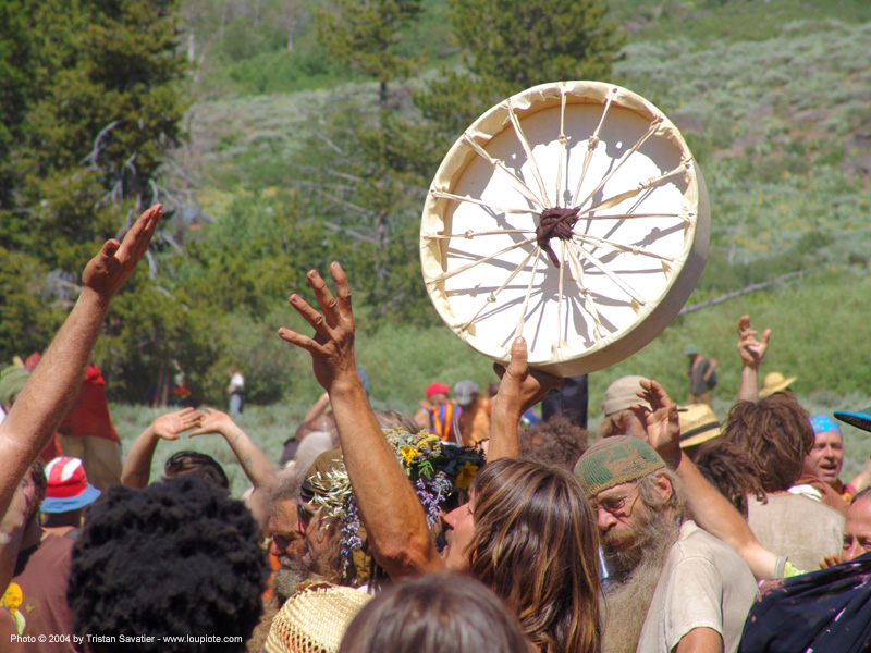 native american shaman drum, crowd, dancing, hippie, native american drum, people, rainbow family, rainbow gathering