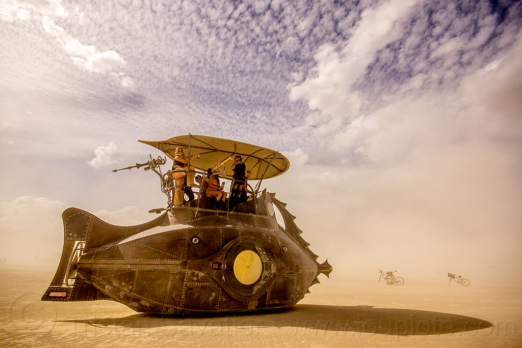 nautilus submarine art car - burning man 2015, art ship, boat