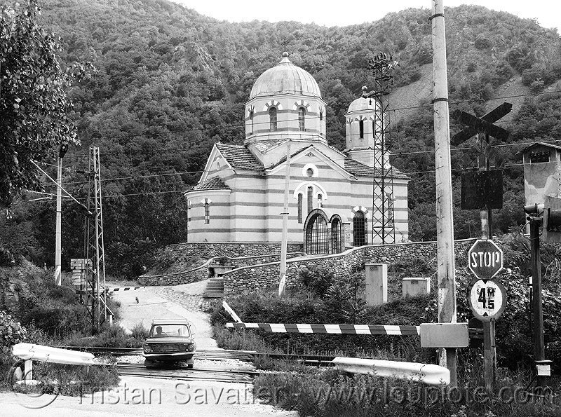 near-zverino - church - train crossing (bulgaria), church, eliseina, eliseyna, rails, railway, train crossing, zverino, българия, елисейна, църквата