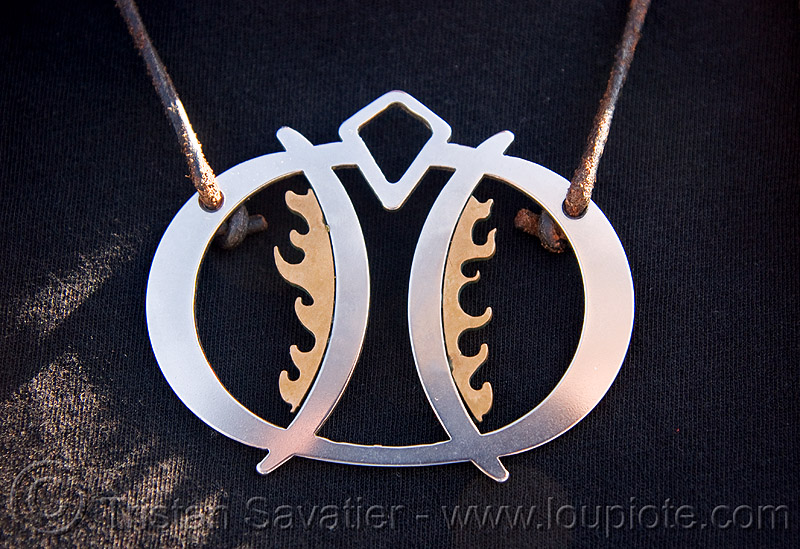 necklace - burning man, brass, burning man logo, jewelry, metal, necklace, steel, unidentified art
