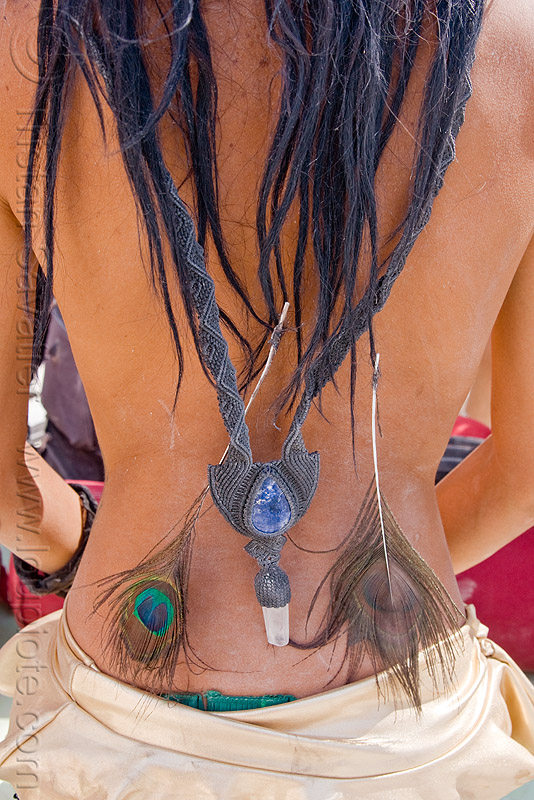 necklace with crystals and peacock feathers, burning man, center camp, crystals, mumu, necklace, peacock feathers, woman