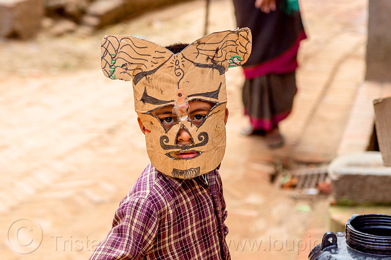 nepali boy with homemade cardboard mask (nepal), bhaktapur, child, kid, moustaches, mustache, people, playing