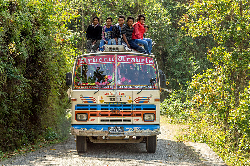 nepali on top of local bus (nepal), bus, front, men, nuwakot, public transportation, road, roof, sitting, tata motors