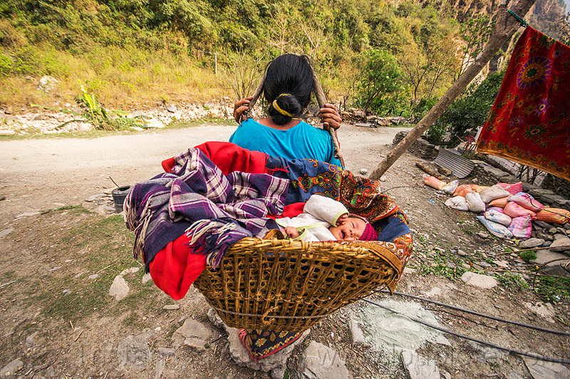 nepali woman carrying baby basket (nepal), annapurnas, baby, basket, blanket, carrying, kali gandaki valley, mother, rattan, tatopani, woman