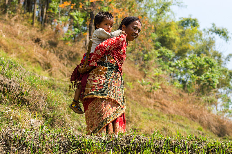 nepali woman carrying little boy on her back (nepal), boy, carrying, child, kid, woman