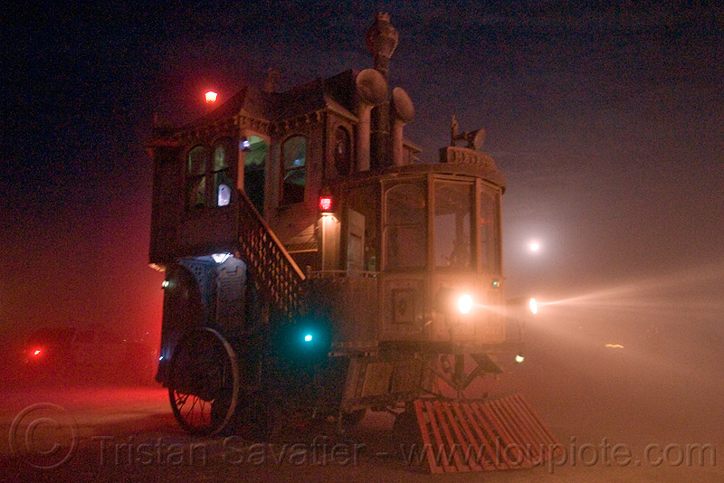 the neverwas haul - burning man 2009, art car, dust storm, full moon, night, playa dust, steampunk, victorian, whiteout