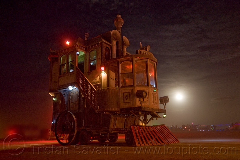 the neverwas haul - burning man 2009, art car, burning man, full moon, mutant vehicles, neverwas haul, night, steampunk, victorian