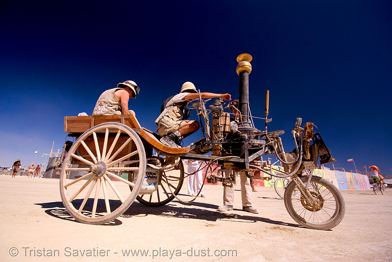 neverwas haul's steam runabout - burning man 2007, art car, steam engine, steampunk, victorian