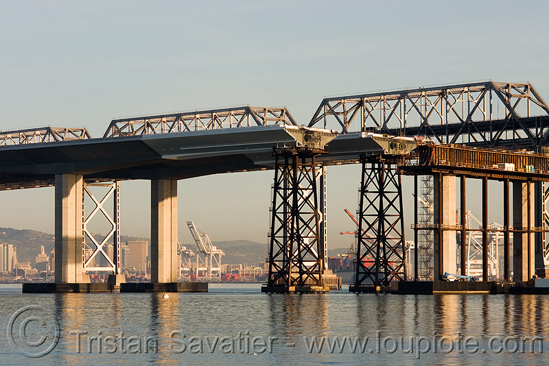 the new san francisco oakland bay bridge - construction (california), bridge construction, bridge pillars, caltrans, infrastructure, new bay bridge, new san francisco-oakland bay bridge, san francisco bay, san francisco bay bridge, sf bay, water