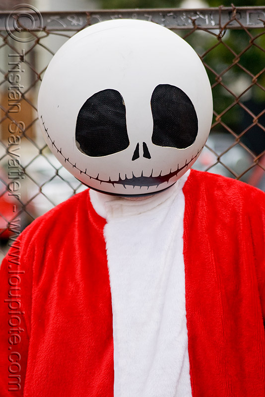 the nightmare before christmas - jack skellington mask - costume, ball, costumes, head, jack skellington, man, mask, santa claus, santacon, santarchy, santas, sphere, the nightmare before christmas