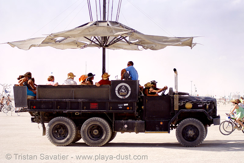 the NIMBY truck - burning man 2007, 6x6, all-terrain, army truck, art car, burning man, lorry, m35a1, military truck, mutant vehicles, nimby, not in my back yard, parasol, umbrella