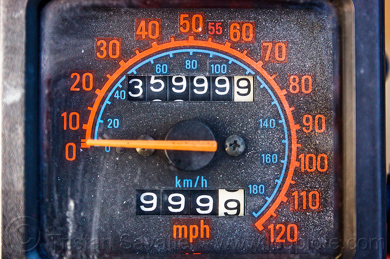 nines on odometer, 9's, 9999, close-up, kawasaki, klr 650, nine, odometer