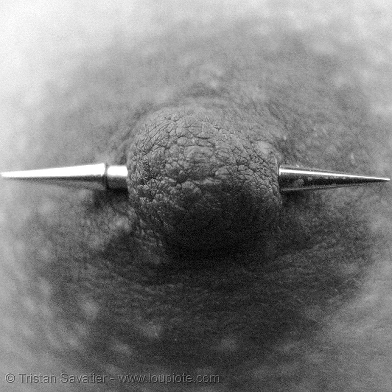 nipple piercing, body jewelry, close up, macro, nipple piercing, spike barbell, spikes, spiky barbell, texture
