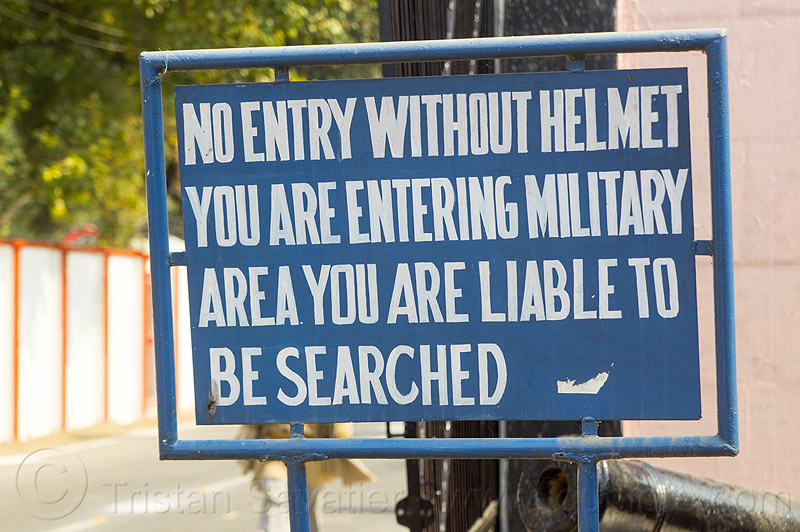no entry without helmet - army sign at allahabad fort (india), kumbh mela, kumbha mela, maha kumbh, maha kumbh mela, military