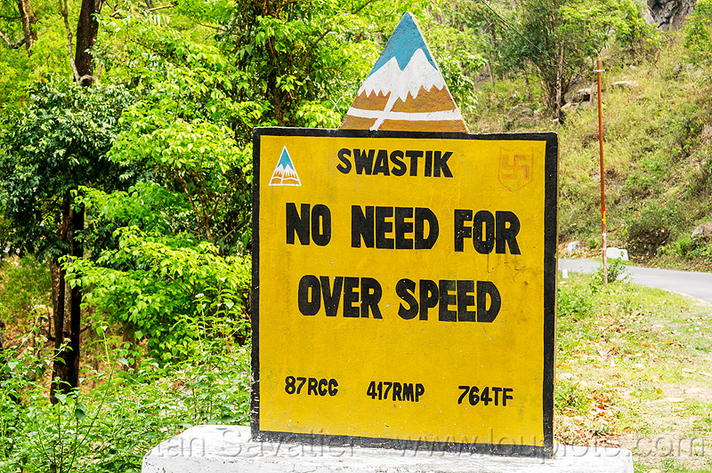 no need for over speed - BRO road sign (india), border roads organisation, road marker, swastik project, traffic sign, west bengal