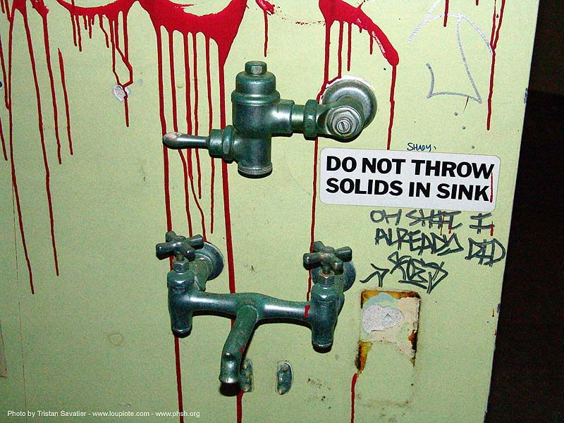 no-solids-in-sink - abandoned hospital (presidio, san francisco) - phsh, abandoned building, abandoned hospital, decay, graffiti, presidio hospital, presidio landmark apartments, trespassing