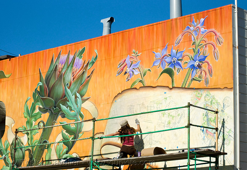 noe valley mural by mona caron  (san francisco), artichoke, caron, flowers, mural, orange, paint, painter, painting, scaffolding