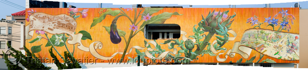 noe valley mural by mona caron (san francisco), art, orange, painted, painting, photo stitching, plants, stitched, vegetables, wall