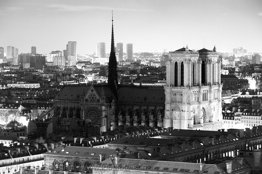 notre-dame cathedral (paris), aerial photo, cathedral, cathédrale notre dame de paris, church, long exposure, monument, night, notre-dame, skyline, towers, trespassing, urban exploration, urban explorer