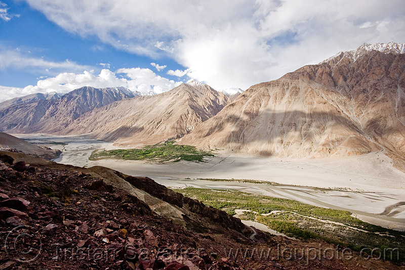 nubra valley - ladakh (india), mountains, river, river bed, satti