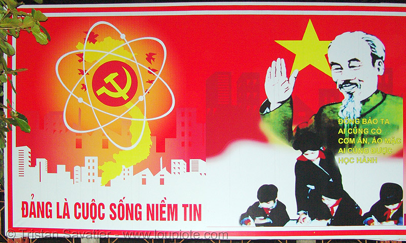 nuclear communist sign - vietnam, atomic, communism, energy, hammer, hammer and sickle, propaganda, red, star, yellow
