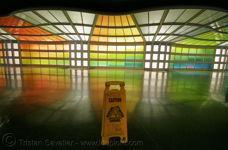 O'hare light tunnel - chicago O'hare international airport - caution wet floor sign, airport, caution, chicago, light tunnel, o'hare, ord, sign, wet floor