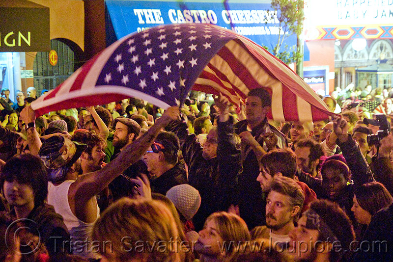 obama gets elected in san francisco - american flag - castro street - blogging, american flag, cnn ireport, crowd, election 08, election night, obama election, president, real-time blogging, street party, united states presidential election, us flag, yes we can