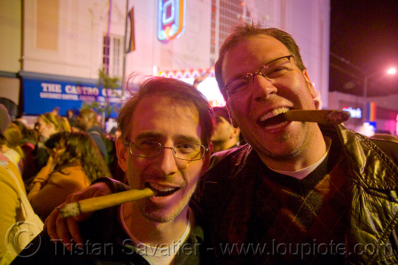 obama gets elected in san francisco - castro street party - smoking cigars - celebrating - blogging, castro street, castro theater, celebration, cigar smoking, cigars, cnn ireport, couple, crowd, election 08, election night, men, obama election, president, real-time blogging, spontaneous, street party, united states presidential election, usa, yes we can