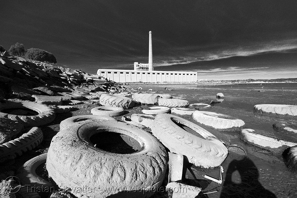 ocean pollution at toxic beach, environment, pollution, seashore, shore, tires, toxic beach