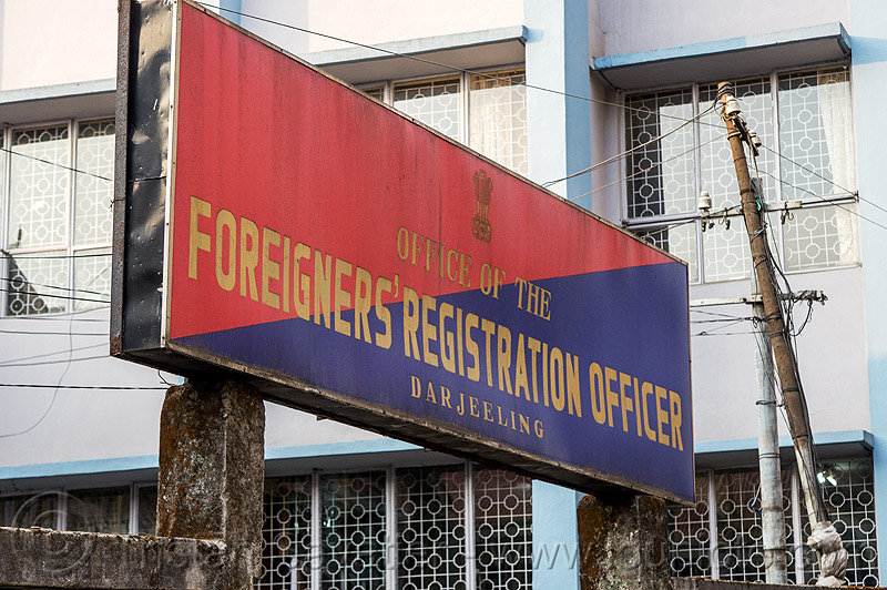 office of the foreigners' registration officer - darjeeling (india), blue, control, police, police station, red, sign