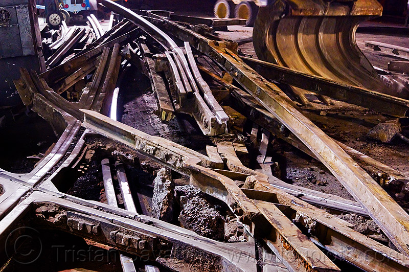 old broken rails to be recycled as scrap metal, demolition, light rail, muni, night, ntk, railroad construction, railroad switch, railroad tracks, railway tracks, san francisco municipal railway, track maintenance, track work