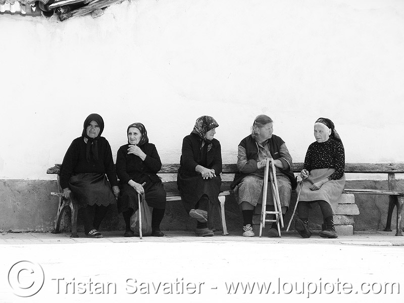 old-bulgarian-women - sitting (bulgaria), bench, curb, old women, scarfs, sidewalk, sitting, българия