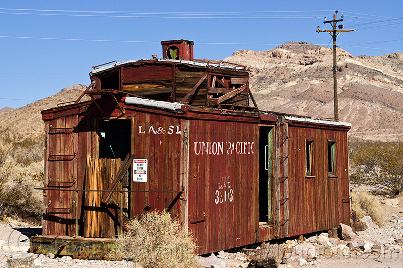 old caboose in rhyolite ghost town, caboose, death valley, railroad, railway, rhyolite ghost town, train car, union pacific