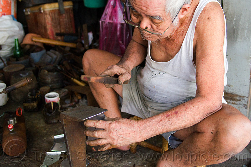 old chinese man in sweat shop, chinese, kuching, man, manual worker, metal worker, sweat shop, working