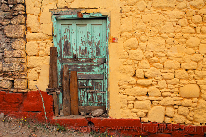 old door in old stone wall, 46, blue door, colorful, house, old, painted, stone wall, wooden door, yellow wall