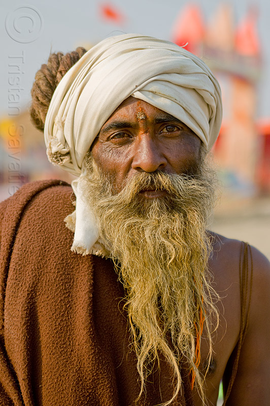 old hindu pilgrim at kumbh mela 2013, baba, beard, dreadlocks, headdress, hearwear, hindu pilgrimage, hinduism, india, maha kumbh mela, man, pilgrim, sadhu, tilak, turban