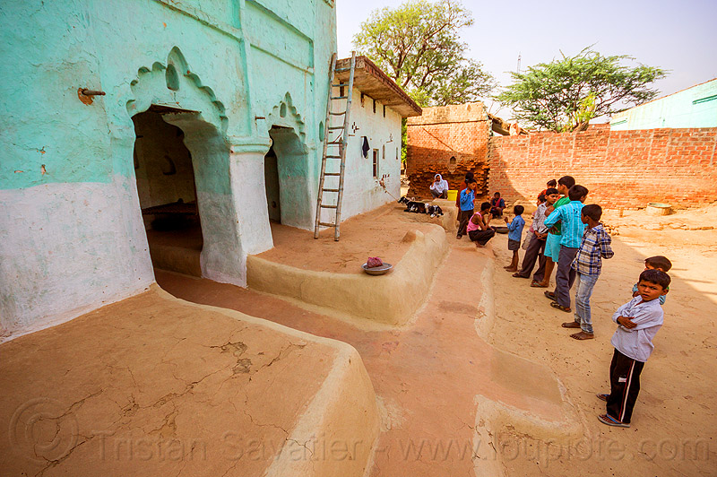 old indian house with earthen floor, adobe floor, children, earthen floor, green house, india, khoaja phool, kids, ladder, village, खोअजा फूल