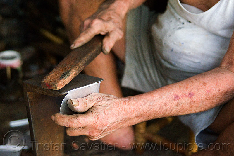 old chinese man in sweat shop, hands, kuching, manual worker, metal worker, people, working