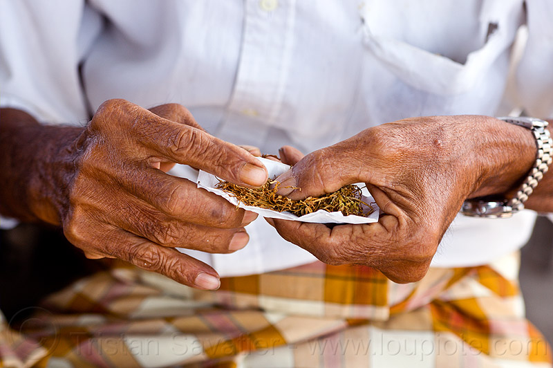 old man rolling-up cigarette, cigarette paper, hands, lombok, people, rolling tobacco, wristwatch