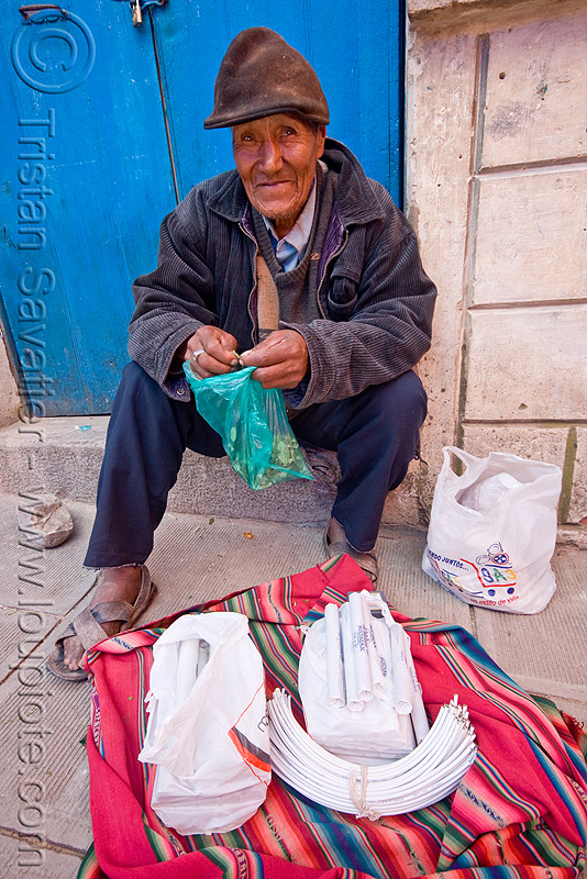 old man selling dynamite sticks, fuses and blasting caps in the street - tarabuco (bolivia), blasting caps, bolivia, dinabol, dynamite sticks, fuses, fuzes, old man, tarabuco