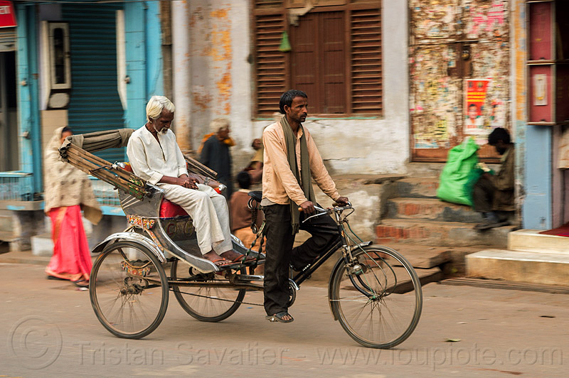 old man with white hair on cycle rickshaw (india), cycle rickshaw, men, moving, napping, sleeping, street, varanasi, white hair