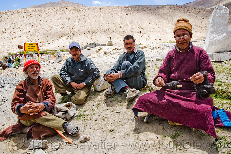 old men sitting - shyok valley - nubra valley - ladakh (india), cross-legged, khardung, ladakh, men, nubra valley, sitting, spindle, spinning, wool