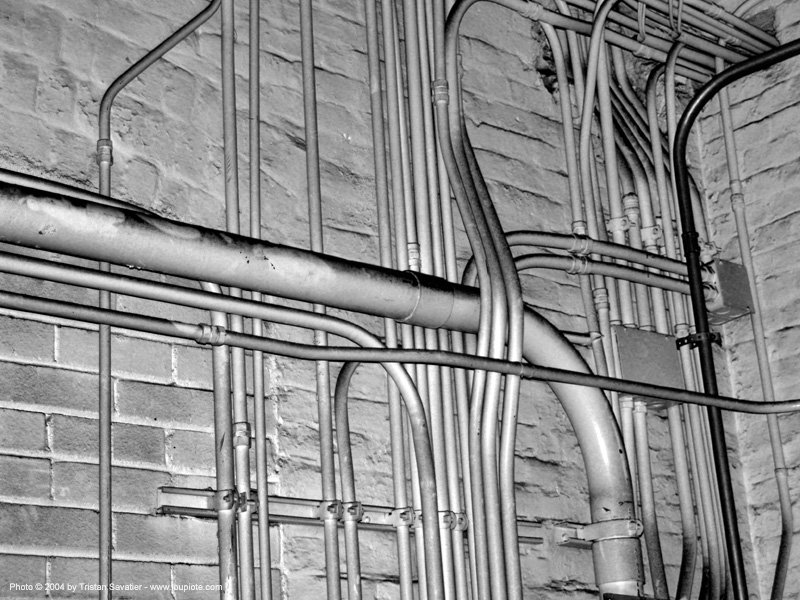 old mint - pipes on wall - utilities - san francisco, basement, pipes, san francisco old mint, wall piping
