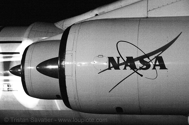 old NASA logo on decommissioned plane, aircraft, decommissioned, jet engine, moffett field, nasa ames research center, nasa logo, plane, yurisnight