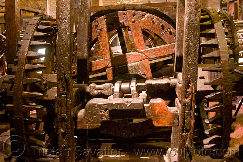 old roller press powered by wooden gears, bolivia, casa de la moneda, casa nacional de moneda, historical, mint, potosí, wood gears, wooden gears, wooden machine