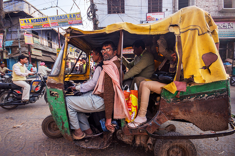 old rusty auto rickshaw on street (india), driver, driving, packed, passengers, people, public transportation, rusted, varanasi